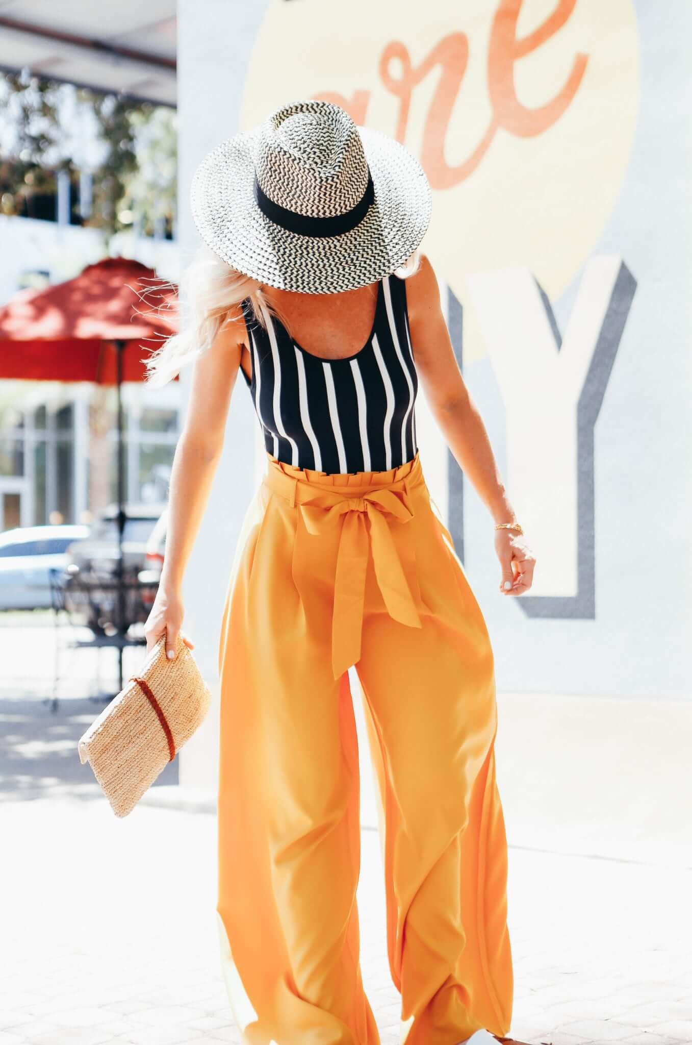 orange palazzo pants outfit